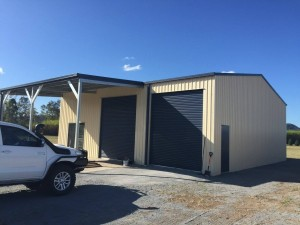custom domestic shed two bay with awning