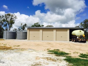 custom domestic shed four bays (three closed, one open)