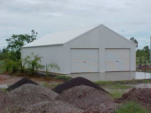 custom enclosed shed with 20 degree pitch