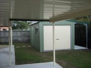 custom domestic shed single bay side awning